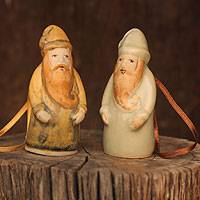 Celadon ceramic Christmas ornaments, 'Thai Santa Claus' (pair)