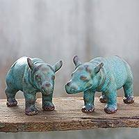 Celadon ceramic figurines, 'Turquoise Rhinos' (pair) - Celadon ceramic figurines (Pair)