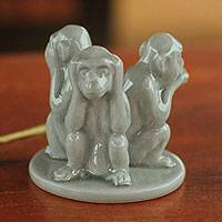 Celadon ceramic figurines, 'Green Monkeys Shun Evil' - Green Ceramic See, Hear, Speak No Evil Monkeys