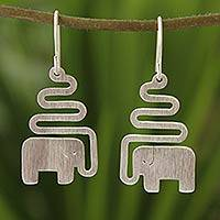 Sterling silver dangle earrings, 'Trumpeting Elephant' - Women's Sterling Silver Dangle Earrings