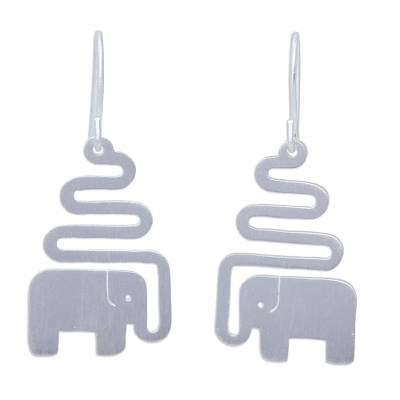 Sterling silver dangle earrings, 'Trumpeting Elephant' - Women's Sterling Silver Dangle Earrings