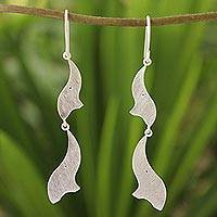 Sterling silver dangle earrings, 'Elephant Acrobats' - Sterling Silver Elephant Earrings from Thailand