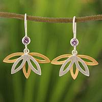 Gold plated amethyst flower earrings, 'Thai Lotus' - Gold plated amethyst flower earrings