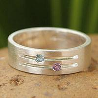 Blue topaz and amethyst band ring, 'Love Key'
