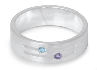 Blue topaz and amethyst band ring, 'Love Key' - Blue topaz and amethyst band ring