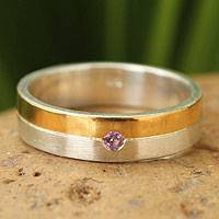 Gold plated amethyst band ring, 'Love Sign' - Sterling and Gold Plated Ring with Amethyst Solitaire