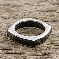 Men's wood ring, 'Natural Journey' - Men's Hand Crafted Wood Band Ring