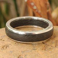 Men's wood ring, 'Moon Hero' - Fair Trade Men's Band Ring from Thailand
