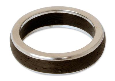 Men's wood ring, 'Moon Hero' - Men's Wood Band Ring