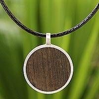 Men's wood pendant necklace, 'Moon Hero'