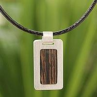 Men's wood pendant necklace, 'Urban Hero' - Fair Trade Men's Sterling Silver and Wood Necklace