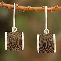 Wood dangle earrings, 'Natural Wonder'