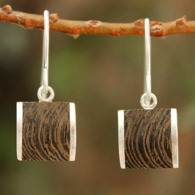 Wood dangle earrings, 'Natural Wonder' - Handmade Wood Dangle Earrings from Thailand