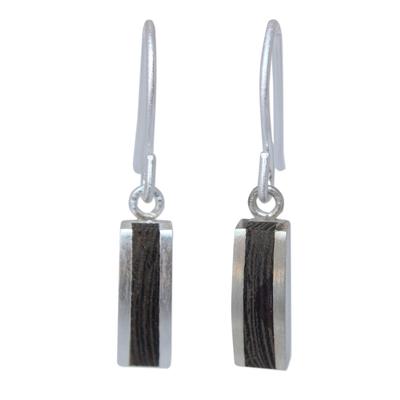 Wood dangle earrings, 'Thai Wilderness' - Unique Wood Dangle Earrings