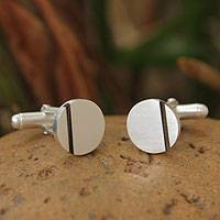 Sterling silver cufflinks, 'Harvest Moon' - Contemporary Sterling Silver Cufflinks