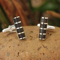 Sterling silver cufflinks, 'Forest Hero' - Sterling silver cufflinks