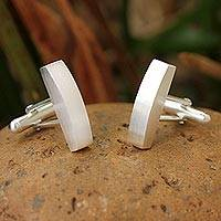 Sterling silver cufflinks, 'Minimalism'