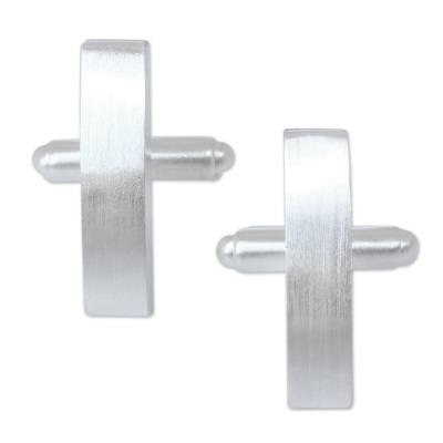 Sterling silver cufflinks, 'Minimalism' - Modern Sterling Silver Cufflinks