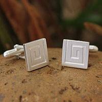 Sterling silver cufflinks, 'Mythical Maze' - Sterling silver cufflinks