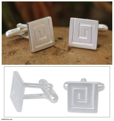 Sterling silver cufflinks, Mythical Maze