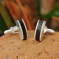 Sterling silver cufflinks, 'Naturally Rugged'