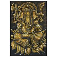 'Successful Blessing of Ganesha l' - Ganesha Blessing Acrylic and Gold Foil Painting