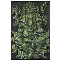 'Successful Blessing of Ganesha Il' - Fair Trade Hindu Acrylic and Gold Foil Painting