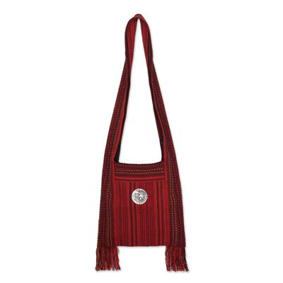 Novica Cotton shoulder bag, Crimson Lands - Handmade Red Shoulder Bag