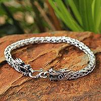 Men's sterling silver bracelet, 'Brave Nagas' - Men's Dragon Sterling Silver Chain Bracelet