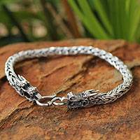 Men's sterling silver bracelet, 'Powerful Nagas' - Men's Unique Sterling Silver Dragon Bracelet
