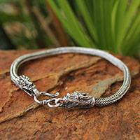 Men's sterling silver bracelet, 'Naga Allies'