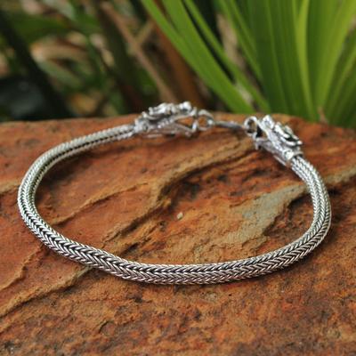 Men's sterling silver bracelet, 'Naga Allies' - Men's Thai Sterling Silver Dragon Bracelet