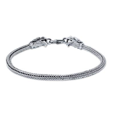 Men's sterling silver bracelet, 'Naga Allies' - Men's Thai Sterling Silver Dragon Bracelet