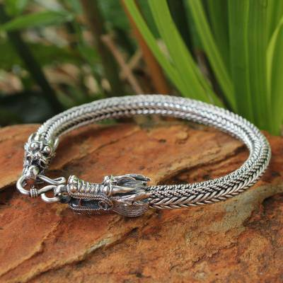 Men's sterling silver chain bracelet, 'Ode to Nagas' - Men's Sterling Silver Dragon Chain Bracelet