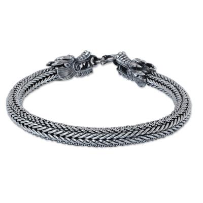 Men's sterling silver chain bracelet, 'Ode to Nagas' - Men's Sterling Silver Dragon Chain Bracelet