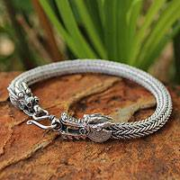 Men's sterling silver bracelet, 'Fierce Nagas' - Men's Sterling Silver Chain Bracelet