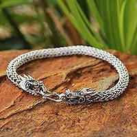 Men's sterling silver bracelet, 'Magical Nagas' - Men's Handcrafted Sterling Silver Chain Bracelet