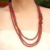 Carnelian beaded necklace, 'Sun Radiance' - Carnelian Beaded Necklace from Thailand