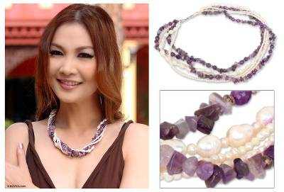 Cultured pearl and amethyst torsade necklace, 'Iris Garland' - Pearl and Amethyst Torsade Necklace
