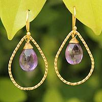 Gold vermeil amethyst earrings, 'Empress' - Gold Vermeil Amethyst Earrings