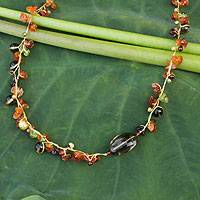 Cultured pearl and carnelian beaded necklace, 'Tropicana Splendor'
