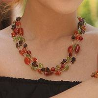 Carnelian and tiger's eye beaded necklace, 'Exciting Times' - Peridot and Carnelian Beaded Necklace