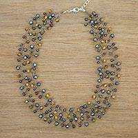 Cultured pearl and garnet beaded necklace, 'Stormy Weather'
