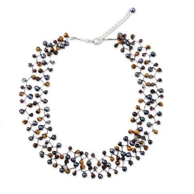 Cultured pearl and garnet beaded necklace, 'Stormy Weather' - Cultured pearl and garnet beaded necklace