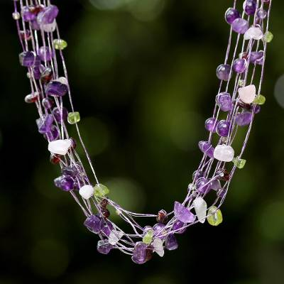 Amethyst and rose quartz strand necklace, Lilac Mousse