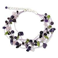 Amethyst and rose quartz beaded bracelet, 'Lilac Mousse' - Amethyst Bracelet