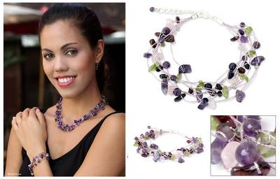 Amethyst and rose quartz beaded bracelet, 'Lilac Mousse' - Artisan Crafted Beaded Amethyst Bracelet