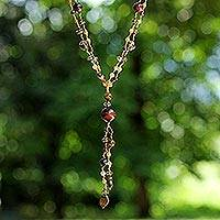 Carnelian and garnet pendant necklace, 'Lovely' - Carnelian and Garnet Pendant Necklace