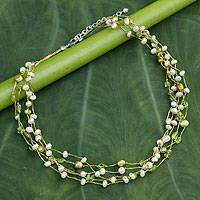 Cultured pearl and peridot beaded necklace, 'Cloud Forest' - Cultured Pearl and Peridot Handcrafted Necklace