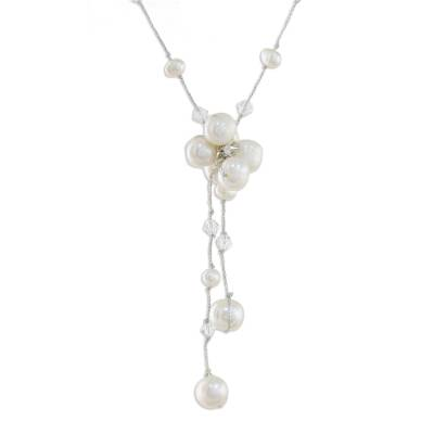 Cultured pearl pendant necklace, 'Snow Queen' - Fair Trade Pearl Necklace